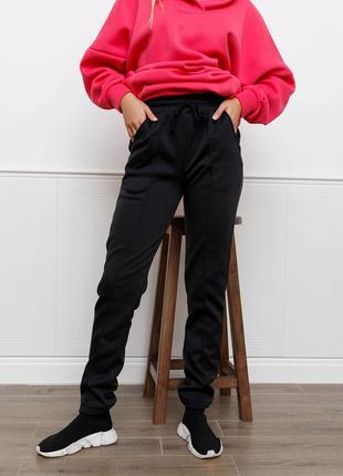 Черные утепленные флисом брюки со стрелками, жіночі тепла спортивні штани
