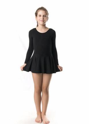 Боди трико с юбкой черный хлопок для гимнастики балета