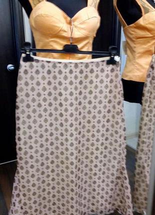 Длинная юбка  hirsch в пудровых тонах  с клиньями в боковых швах