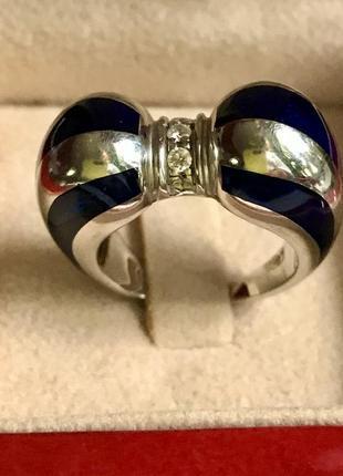 Дизайнерское золотое  кольцо с синей эмалью и бриллиантами.17.36 гр  украина.
