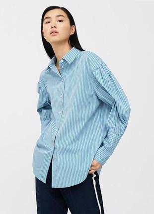 Стильная рубашка в полоску с широкими манжетами