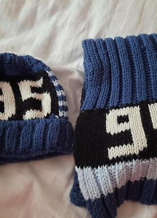 Прекрасный комплект на мальчика шапка+шарф размер 50-52.