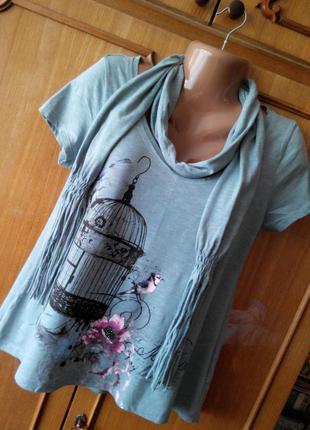 Свободная футболка с шарфом и удлиненной спинкой george