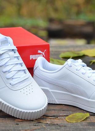Оригинал puma кеды базовые белые кожаные carina leather white пума