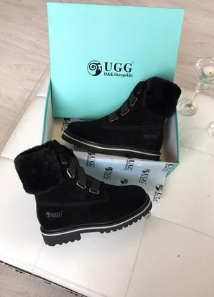 Женские шикарные ботинки ugg boots black / натуральная овчина