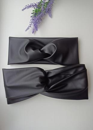 Кожаная чалма повязка кожзам ободок из эко кожи аксессуары для волос