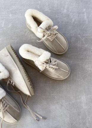 Бежевые теплые угги ботинки сапоги хайтопы на меху 36-41рр, реальные фото