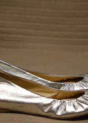 Обворожительные серебристые кожаные балетки j. crew  сша / италия 36 р.