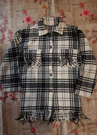 Теплая рубашка пальто в клетку шерсть