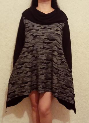 Стильное платье -туника с карманами батал