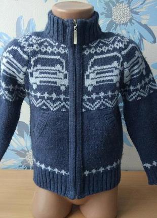 Теплый шерстяной свитер на молнии для мальчика 1,5-2 года  ada yildiz