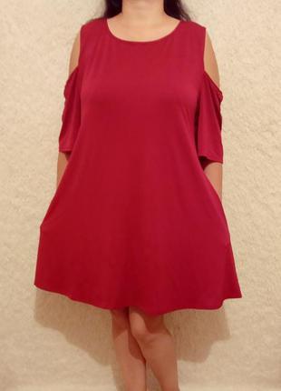 Роскошное платье с карманами батал