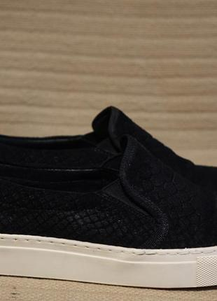 Красивые черные комбинированные кожаные слипоны 38 р.