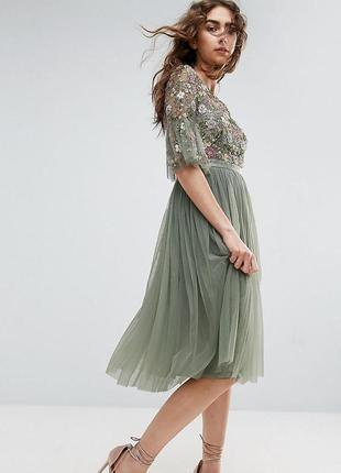 Вечірнє плаття міді розшите бісером needle & thread, вечернее платье бисер asos