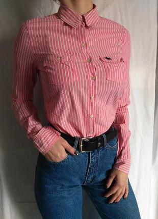Легкая летняя натуральная рубашка в полоску от  abercrombie&fitch