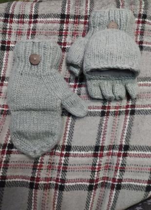 Теплющие рукавицы 100% шерсть