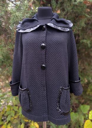 Кардиган пальто винтажная радость укороченное хлопок с винил вставками лакированный