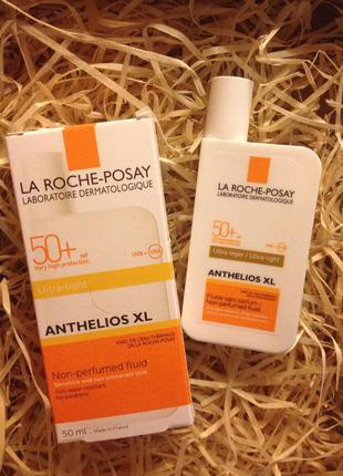 Солнцезащитный ультра-легкий флюид для лица la roche-posay anthelios spf 50+