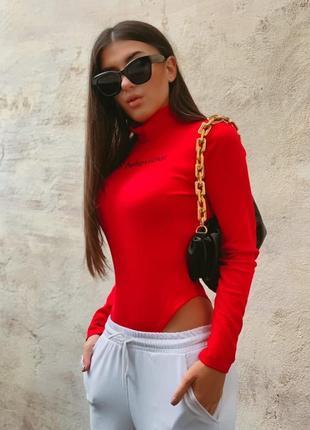 Бодик трикотаж рубчик обтягивающий женский красного цвета