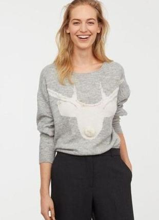 Вязанный шерстяной свитер, джемпер h&m с оленем