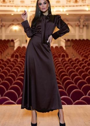 Платье миди атласное шелковое
