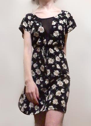 Цветочное платье с сеткой вискоза