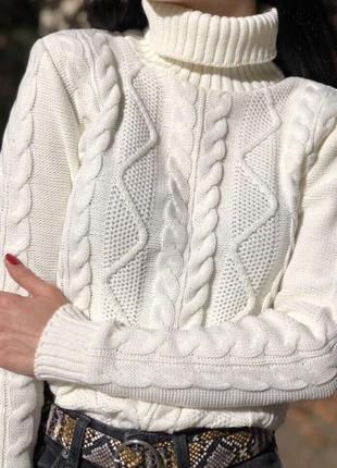 Женский вязаный зимний гольф свитер кофта узор