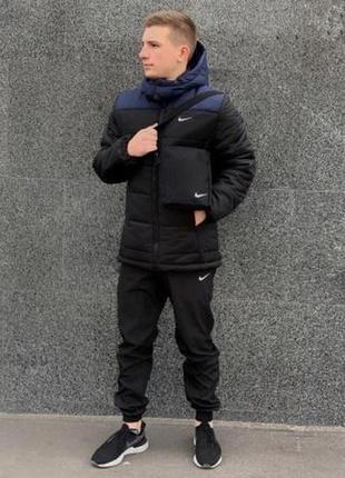 """Зимняя куртка """"европейка"""" сине-черный"""