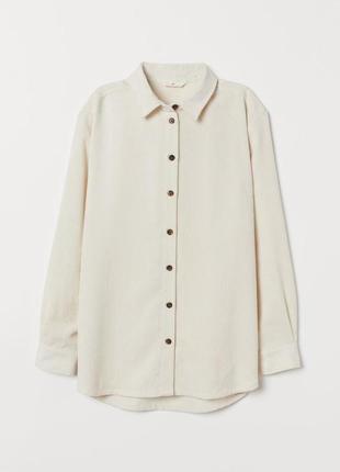 Трендовая вельветовая рубашка блузка сливочного оттенка большого размера h&m