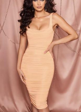 Персиковое платье oh polly