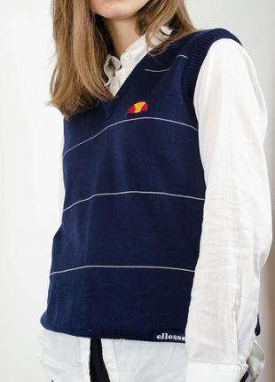 Ellesse синяя жилетка из шерсти с логотипом, жилет в полоску, шерстяная базовая безрукавка