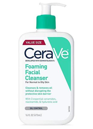 Очищающее средство для лица cerave, foaming facial cleanser, for normal to oily skin