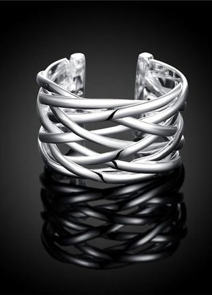 Кольцо каролина открытое покрытие серебром 925 пробы размер универсальный