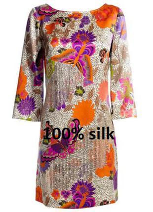 Эксклюзивное 100% шелк silk ровное легкое ретро платье туника monsoon m-l 12