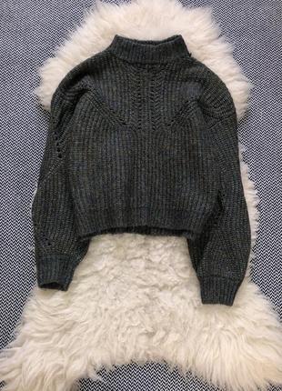 Свитер шерсть шерстяной объёмный рукав вязаный кофта горло