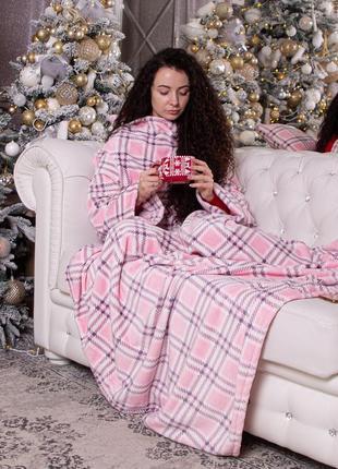 Плед махровый с рукавами и подушка в подарок, рукоплед + подушка в подарок