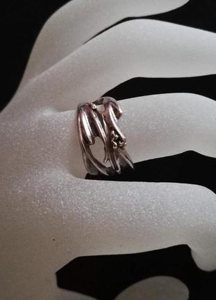 """Серебряное кольцо """"листочек"""" б/у р.18 # кольцо серебряное лот 314"""