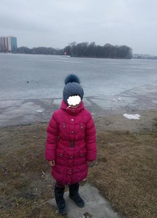 Супер-пальто цвета фуксии. зима. рост 122