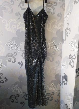 Чёрное серебристое длинное макси вечернее новогоднее платье в петках