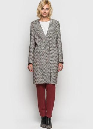 Пальто стильное  з v-подобным вырезом разноцветное букле vovk