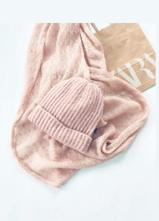 Набор пудрового цвета 💖шапка шарф