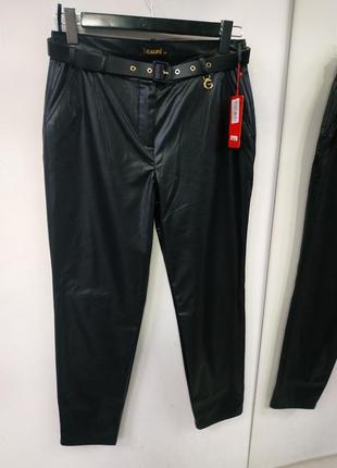 Брюки штани з еко-шкіри чорні з поясом