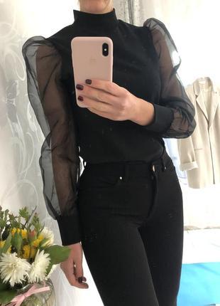 Красивая блуза 🖤пышный рукав размер s