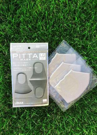 Многоразовые защитные маски pitta mask light gray/питта. не неопрен. полиуретан. япония ✅3 фото