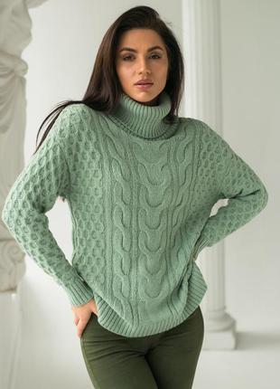 Очень красивый и теплый свитер крупной вязки под горло s/m/l много цветов распродажа !!!