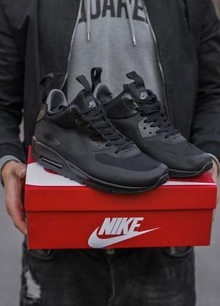 Кроссовки кожаные черного цвета air max 90 termo black 681