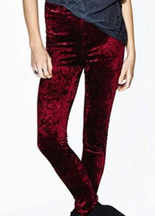 Суперовые трендовые бархатные велюровые лосины цвета марсала бордовый винный ribbon.