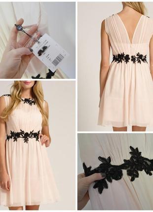 Нюдовое платьице с красивой аппликацией little mistress размер 12 (м)