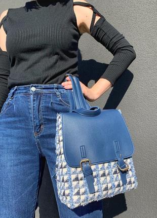 Рюкзак голубой твидовый