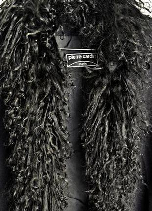Шикарный шерстяной жилет-накидка с карманами,  мех- натуральная лама,  pierre cardin